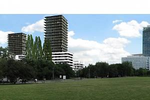 Park Kavčí Hory. Návrh dosud nerealizovaného projektu na Pankrácké pláni pochází z AP Atelieru Josefa Pleskota, který s ním zvítězil v soutěži, pořádané společně developerem Central Group a pražským Institutem plánování a rozvoje.