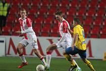 21. kolo první fotbalové ligy: Slavia Praha - Fastav Zlín 1:0 (1:0). Na snímku vlevo autor jediného gólu utkání Tomáš Souček.
