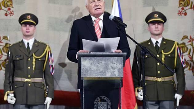 Exprezident Václav Klaus při projevu na Vítkově.