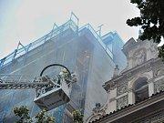 Požár lešení hotelu na Václavském náměstí.