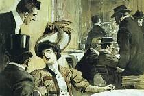 JE LIBO KOŇAK ČI ČAJ? Atmosféra kavárny ze začátku minulého století na dobové ilustraci.