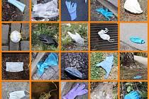 Pražské služby upozornily na nový nešvar společnosti – odhozené roušky a rukavice. Fotokoláž je ilustrační.