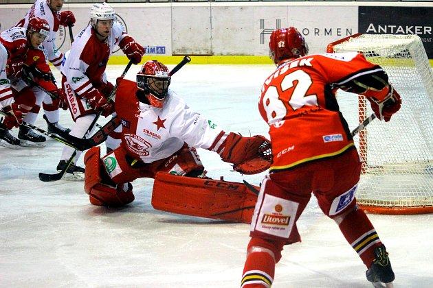 Slavia Praha - Jestřábi Prostějov, 29. kolo WSM ligy, hokej, Dominik Frodl, autor: Michal Sedlák,
