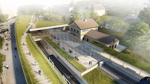 Vítězný návrh na přestavbu nádraží Praha-Veleslavín z dílny autorskému týmu studia idhea architekti ve složení Dalibor Hlaváček a Zuzana Kučerová.
