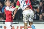 Zápas 14. kola FORTUNA:LIGY mezi Sparta Praha a Slavia Praha, hraný 4. listopadu v Praze. Souček se raduje z gólu.