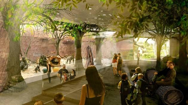 Pohled do interiéru expozice od vstupu do pavilonu.