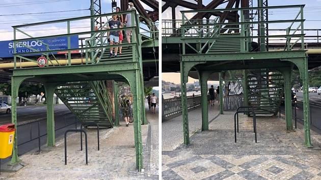 Odstranit kus červenobílého trubkového zábradlí u železničního mostu si vyžádalo obrovské byrokratické úsilí.
