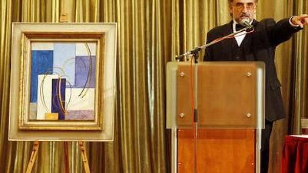Vydražený obraz Abstraktní kompozice od Františka Kupky.