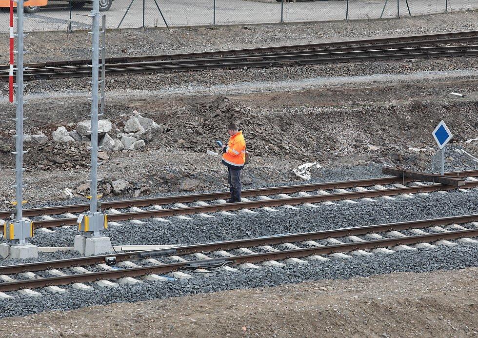 Rekonstrukce kolejí u nádraží Vršovice.