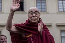 Dalajlama při své návštěvě Prahy.