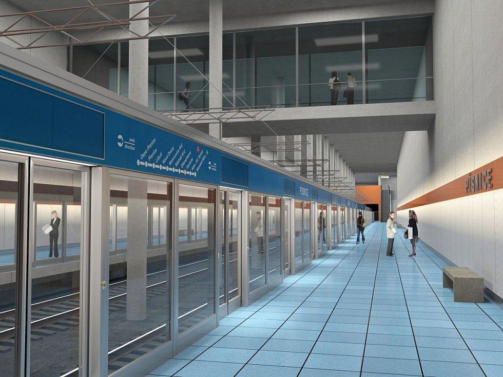 Vizualizace trasy metra D s konečnou ve stanici Depo Písnice.