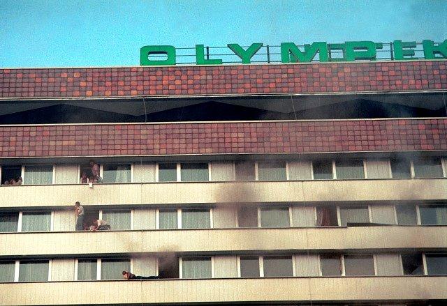 Požár hotelu Olympik.