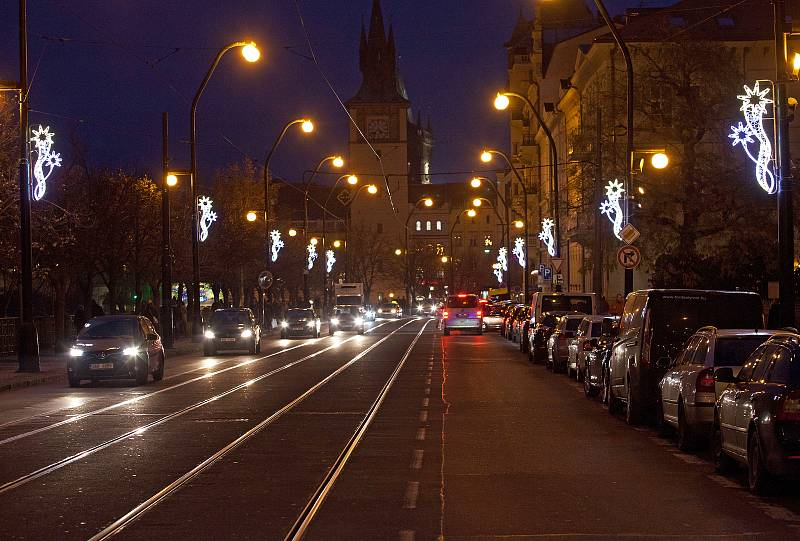 Vánoční osvětlení - Smetanovo nábřeží.