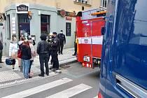 Únik plynu v Jaurisově ulici.