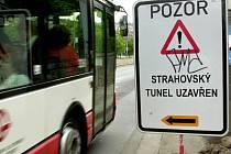 Uzavírka Strahovského tunelu. Ilustrační foto.