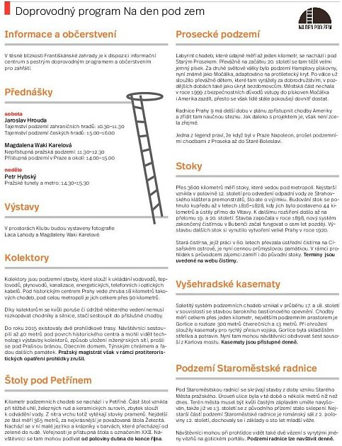 Prohlídka pražského podzemí. Infografika.