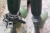 Městská firma Technologie hlavního města Prahy (THMP) upozorňuje, že boxy na klíče od sdílených bytů nepatří na sloupy veřejného osvětlení.