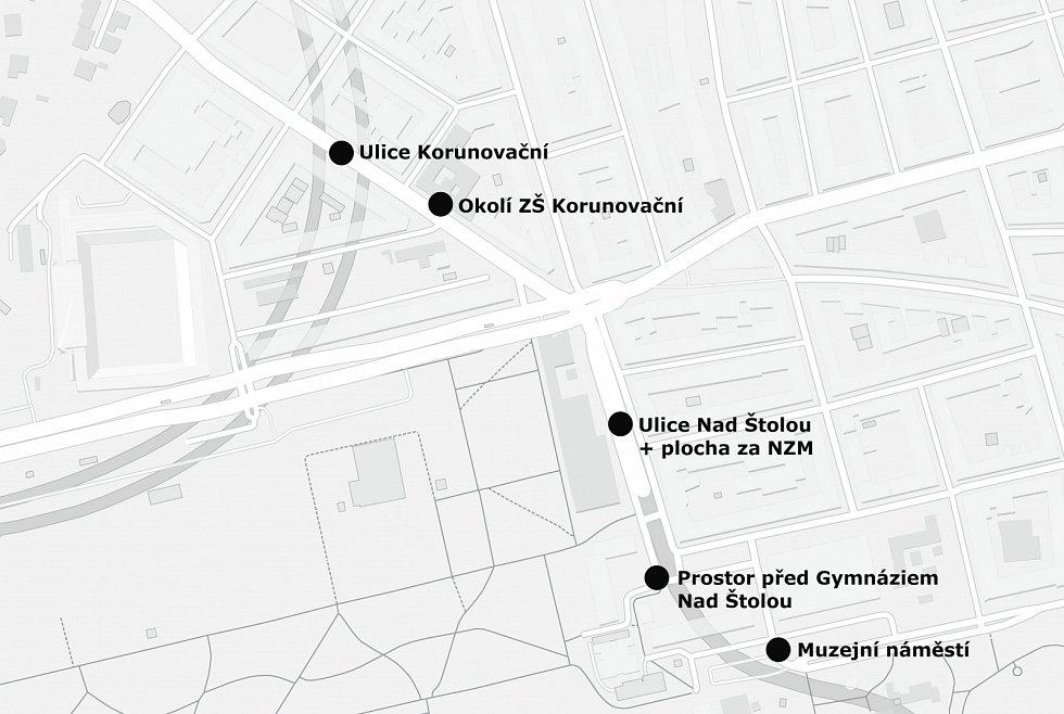 Mapka Letenského muzejního distriktu.
