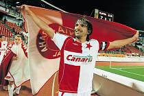 NA ŘADĚ JE SEVILLA. Takhle se radoval Matej Krajčík, když Slavia rozprášila Zlín. Teď na sešívané čeká daleko těžší soupeř.