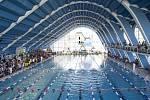 Plavecká soutěž Jarní cena Prahy v plaveckém stadionu v Podolí.