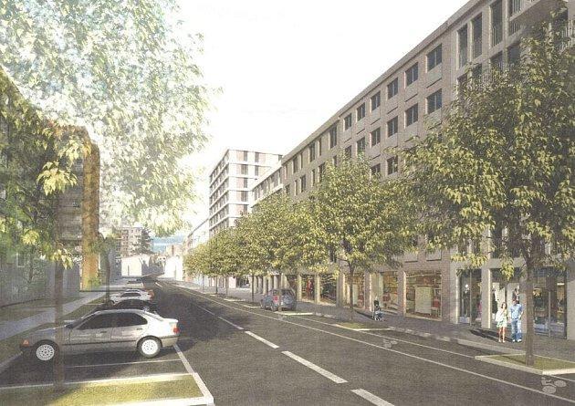 Vizualizace projektu obytné čtvrti v ulici Na Jarově v Praze.
