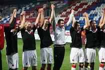 Slávisté se radují, vyhráli na hřišti ligového lídra z Plzně 1:0 gólem Milana Škody.