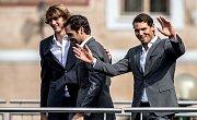 Slavnostní zahájení prvního ročníku tenisového Laver Cupu, které se konalo 20. září na Staroměstském náměstí v Praze. Alexander Zverev, Roger Federer, Rafael Nadal