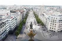 Praha schválila novou studii revitalizace Václavského náměstí. Tramvaje nově pojedou po obou stranách a ne středem, jak se plánovalo dříve.