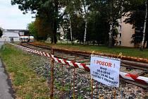 Železniční vlečka v Čakovicích.