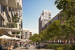 2. místo Ian Ritchie. Britský architekt navrhl tři nižší bloky a tři postupně gradujících věže ozvláštněné průmyslovým designem. Porotu velmi zaujal, ale trochu se obávala industriální syrovosti návrhu.