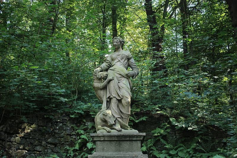 Nad jezírkem na malém návrší stojí socha Diany se psy.