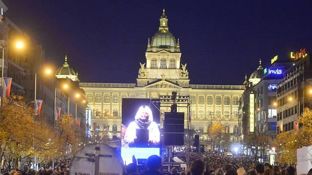 Připomínka událostí 17. listopadu v Praze. Koncert na Václavském náměstí. 17. listopad 2019