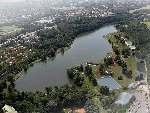 Vizualizace možné budoucí podoby zástavby na březích koupaliště Džbán v Praze 6.
