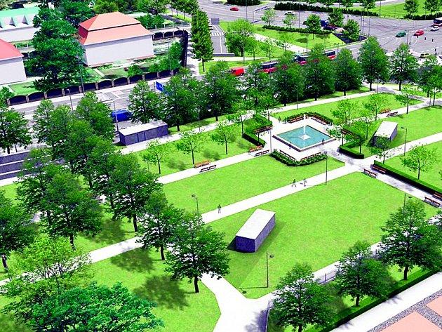 FONTÁNA UPROSTŘED. Dominantní součástí parku podél ulice Milady Horákové bude velká čtvercová fontána.