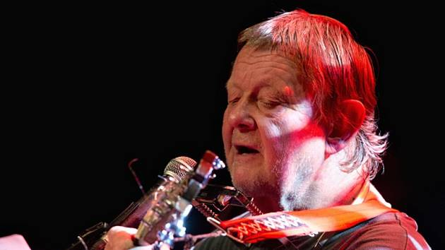 Hudebník Vladimír Merta při koncertu v pražském Paláci Akropolis.