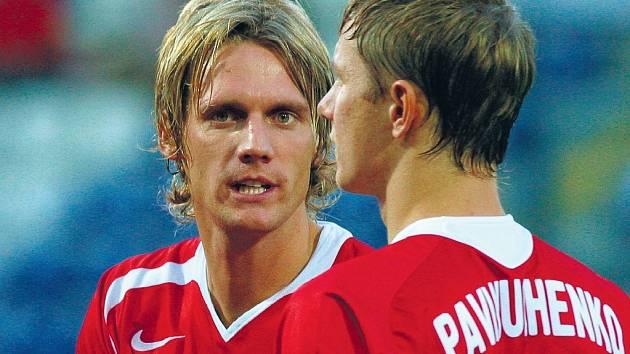 Radoslav Kováč (vlevo) v dresu moskevského Spartaku.