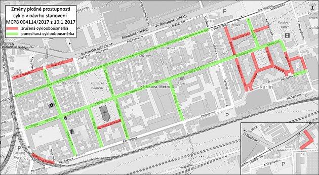 Cykloobousměrky vKarlíně - mapa.