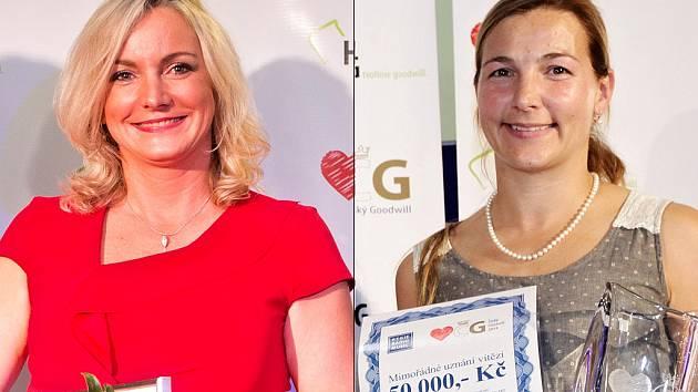 Osobnosti Českého Goodwillu Michaela Hustá (2013, vlevo) a Blanka Milfaitová (2014, vpravo).