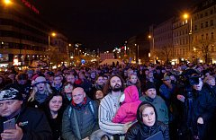 Výroční 17.listopadu v Praze na Národní třídě a Václavském náměstí.