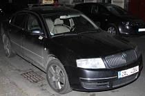 Vůz zavražděného taxikáře Škoda Superb
