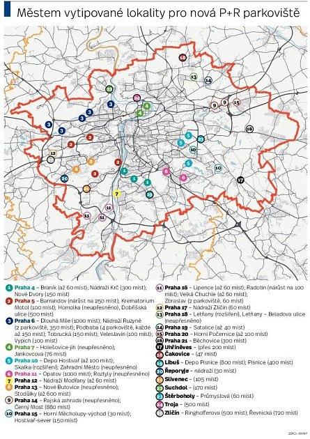 IPR vytipoval místa pro parkoviště. Infografika.