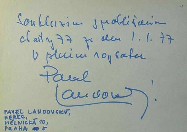 Podpis Pavla Landovského pod Chartou 77.