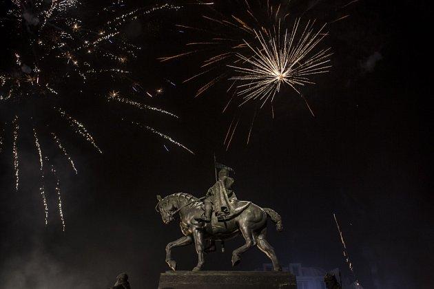 Silvestrovské oslavy na pražském Václavském náměstí v Praze.