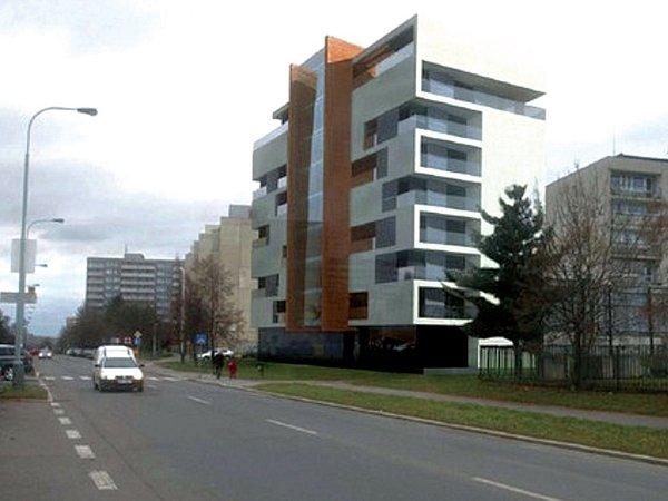 Vizualizace: další ze zrušených projektů - dům spečovatelskou službou ve Hviezdoslavově ulici na Jižním Městě. Prý měl stát příliš blízko sousedního paneláku irušné komunikace.