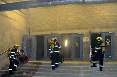 Požár elektroinstalace u NC Galerie Harfa.