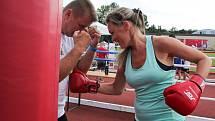 Trénink v olympijském parku vedli boxeři z oddílu Pražský Rohovník, trenér Michal Soukup, mládežníci Adam Marcin a Samuel Klabeneš.