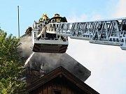 Požár drážního domku.