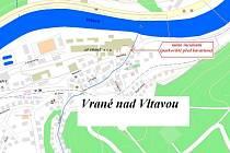 Mapka místa události ve Vraném nad Vltavou.