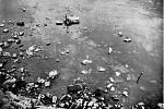 Pilíř Juditina mostu pod vodou při malostranském břehu v roce 1940 (podle Čarek 1947, obr. 44).