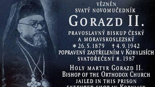 Pamětní deska svatému Gorazdovi, pravoslavnému biskupu českému a moravskoslezskému, u Pankrácké věznice v Praze.